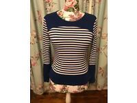 Karen millen blue and white stripe top 10