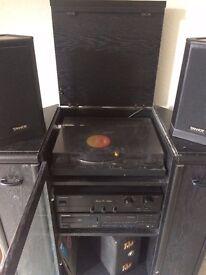 Vinyl record player storage unit