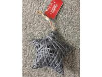 Grey wool / metal hanging stars and hearts - 12 of each