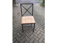 Set of 6 metal & wicker dining chairs