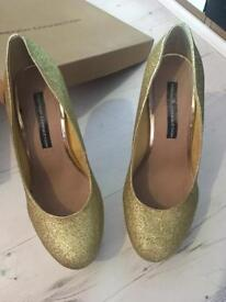 Size 5 gold French connection heels