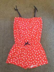 Girls red playsuit all in one