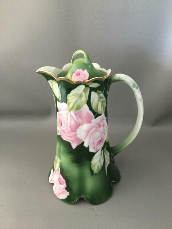 ANTIQUE VTG ROSENTHAL HAND PAINTED PINK ROSES PORCELAIN COFFEE CHOCOLATE POT