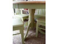 ROUND PINE SHABBY CHIC FARMHOUSE TABLE & CHAIRS