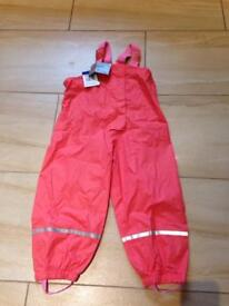 Waterproof girls pants trousers dungarees size 2-3 years