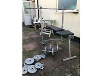 Carl Lewis weight bench barbell and dumbbells