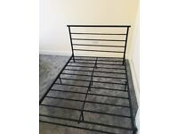 Nearly new double bed frame - Black steel