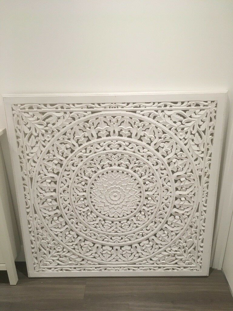White Moroccan Style Headboard Wall Art Or Coffee Table