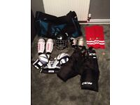 Youth ice hockey outfit and bag