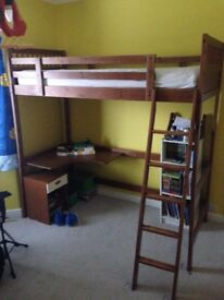 Ikea wooden single loft bed with desk and mattress