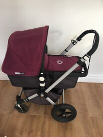 Bugaboo Chameleon 2 in purple plus orange fabrics with accessories