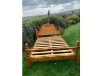 Vintage Pitch Pine Double Bed Frame