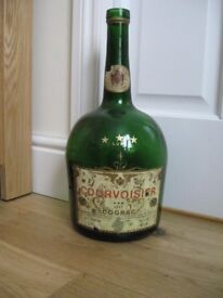 Vintage Courvoisier Cognac large green heavy glass decorative display bottle.