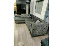 🔵SPRING SALE ON🔴Florence sofa-plush velvet left/right hand corner sofa-in grey color