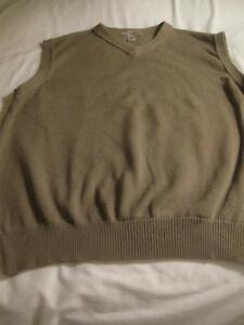 EXTRA LARGE MEN`S VEE-NECK SLEEVE-LESS TAUPE 100% COTTON KNITTED VEST