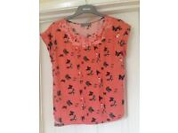 Coral butterfly top