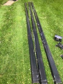 Black guttering 3 x 4 metre lengths + fittings as photos.