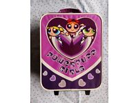 Childrens Kids Powerpuff Girls Wheeled Suitcase / Luggage On Wheels GC