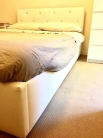 White double bed size with drawer base + mattress - perfect condition!