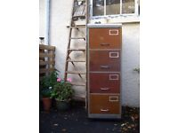 Industrial storage metal steel modern chest of drawers rust patina re-purposed filing cabinet