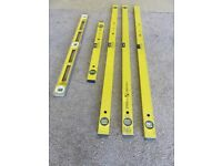 Set of 5 Stabila spirit levels,consists of 3of 120cm, 1of 60cm, 1of Steel 80cm. Good condition