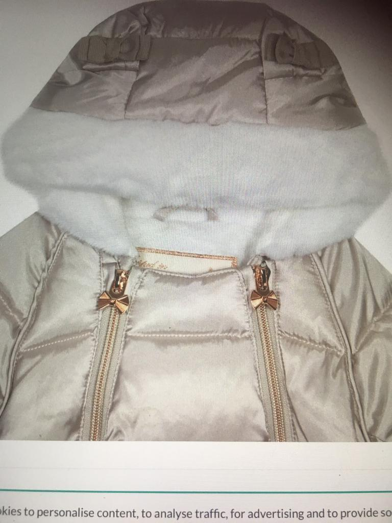072e5b1a2 Baker by Ted Baker -Baby girls silver padded shower resistant Snowsuit
