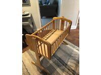 mothercare swinging wooden crib