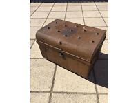 Vintage metal steamer trunk coffee table