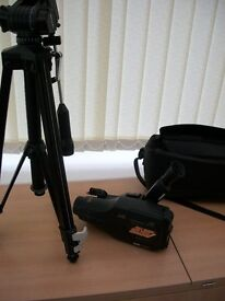 JVC movie camera model GR-A1E, associated leads, battery and charger, one tape, Titan 606 tripod