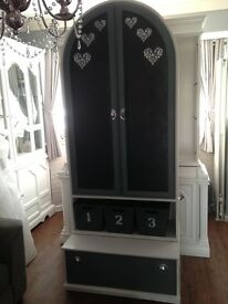 Gorgeous bespoke shabby chic hat coat shoe accessories stand or pantry cupboard