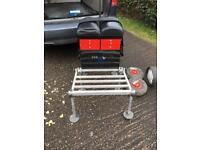 Fishing seat box legs foot plate wheels trolly