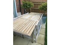 Habitat Teak Garden table (extendable) and 10 chairs