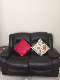 2 two seater sofas brown