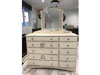 French style large chest of drawers/ sideboard with large mirror. Shabby chic