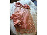 Peach ombré saree with blouse & petticoat