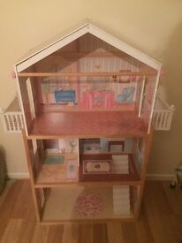 Barbie House with selection of Furniture, Dolls and clothes