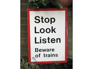 Vintage original (not reproduction) metal railway sign beware of trains