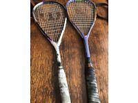 Two squash rackets.