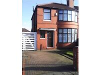 3 Bed Semi Detached House Fully Furnished,Fairholme Rd,Withington,Off Road Parking,Large Rear Garden