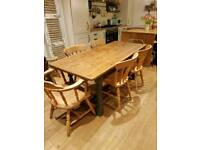 Beautiful rustic pine farmhouse cross beam dining table and 6 chairs
