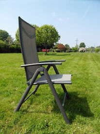 Collapsible garden chairs, sun lounger and small table