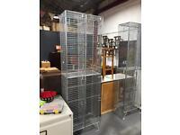New Industrial Wire Mesh Lockers 4 Compartments Man Cave Kitchen Storage Shop Gym Leisure Center