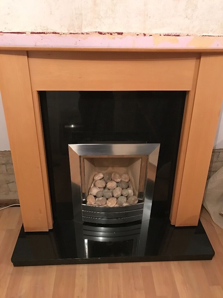 british gas fire marble hearth surround and wood mantel piece