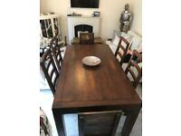 RUSTIC designer solid oak dining table & 6 chairs