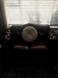 Burgundy leather 2 seater sofa