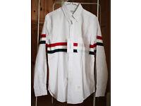 Thom Browne Long Sleeve Shirt with Grosgrain Stripe in White Poplin