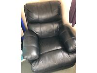 Black Manual Leather Recliner Chair