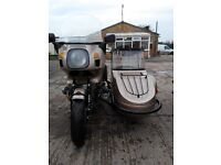 Bmw R100 and Sidecar in Gold with Leading Links outfit combination