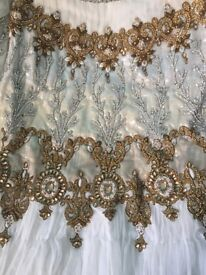 White and Gold, FULL LENGTH, SIZE M/TALL, EXCEPTIONAL EMBROIDERY/BEAD WORK