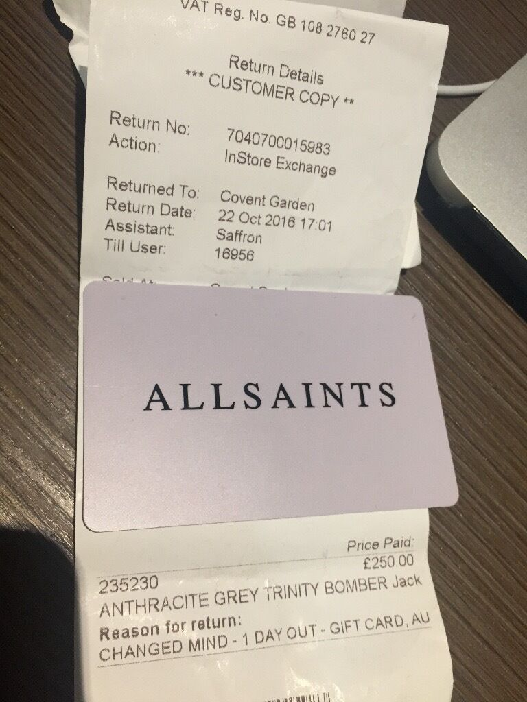 All Saints Gift Card Discounted | in Old Street, London | Gumtree